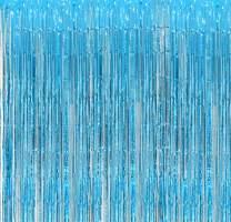 Aquamarine Foil Fringe Backdrop - Pack of 1 - Shiny Metallic Tinsel Foil Curtain - Ideal for Bridal Shower, Wedding, Birthday, Christmas, New Year | Door Windows Wall Decoration