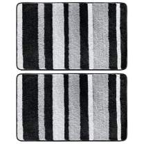 """mDesign Soft Microfiber Polyester Non-Slip Spa Mat, Plush Water Absorbent Accent Rug for Bathroom Vanity, Bathtub/Shower - Machine Washable, Striped Design, 34"""" x 21"""" - 2 Pack - Black/Gray"""