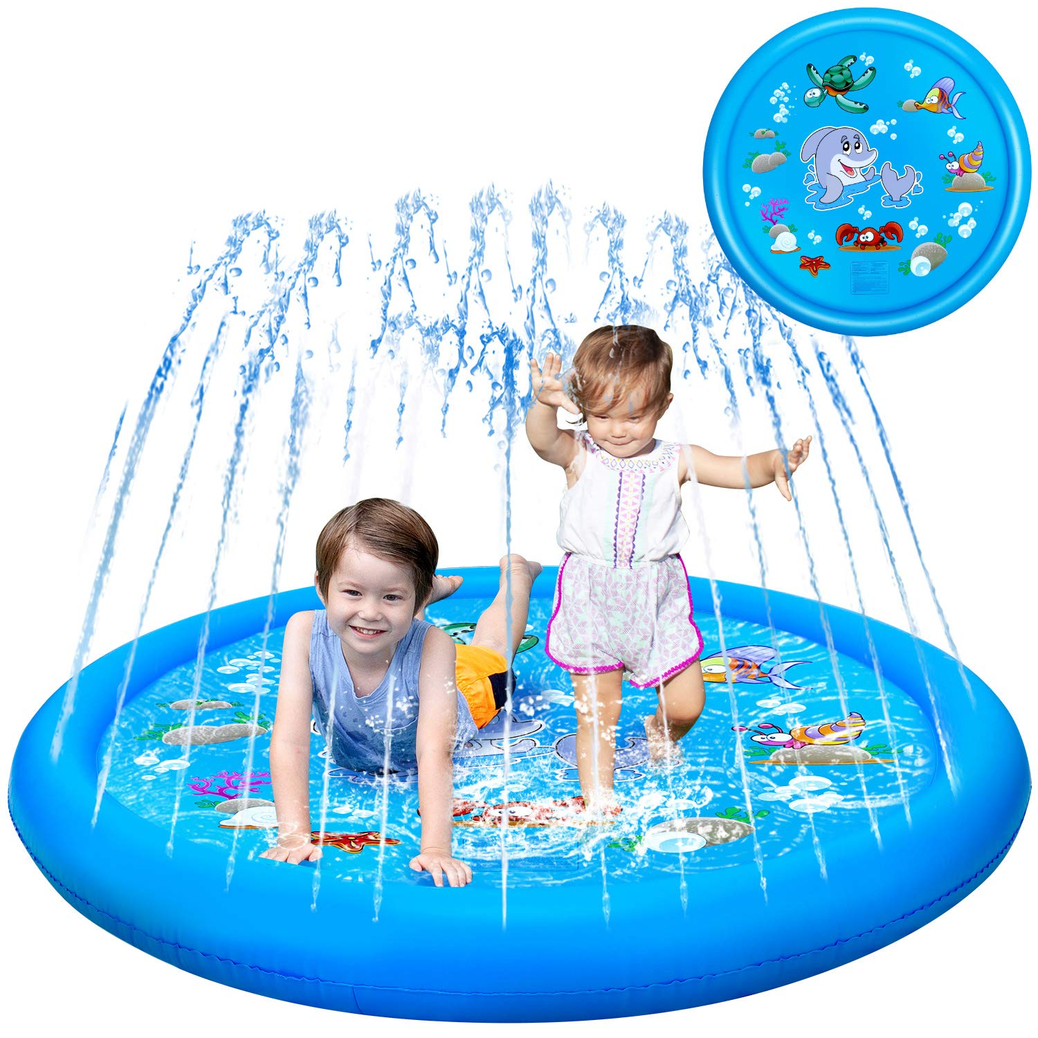 "KingsDragon Splash Pad for Kids, 68"" Sprinkler Outdoor Summer Swimming Wading Water Toys for Dogs Toddlers Kiddie Baby, Sprinkle & Splash Inflatable Pool Play Mat Gifts for 1-12 Year Old Boys Girls"