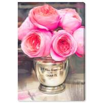 """The Oliver Gal Artist Co. Floral and Botanical Wall Art Canvas Prints 'Rue Cambon' Home Décor, 16"""" x 24"""", Pink, Gold"""