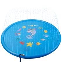 "SKOLOO Sprinkle & Splash Play Mat,68"" Sprinkler Pad Outdoor Water Toy for Toddlers Boys Girls Children Party Sprinkler Wading Pool Fun Gift for Kids 1 - 13 Years Old,Blue"