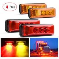 Nilight - TL-33 4PCS 3.9 Inch 3 Led Truck Trailer Light Front Rear LED Side Marker Lights Clearance Indicator Lamp Waterproof Sealed Surface Mounted LED Marker Light