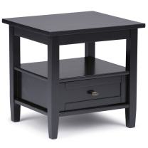 Simpli Home Warm Shaker End Side Table, 20 by 18-Inch, Black