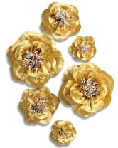 Letjolt Golden Paper Flower Decorations for Wall Backdrop Birthday Party Wedding Ornaments Baby Shower Bridal Shower(Golden Set 6)