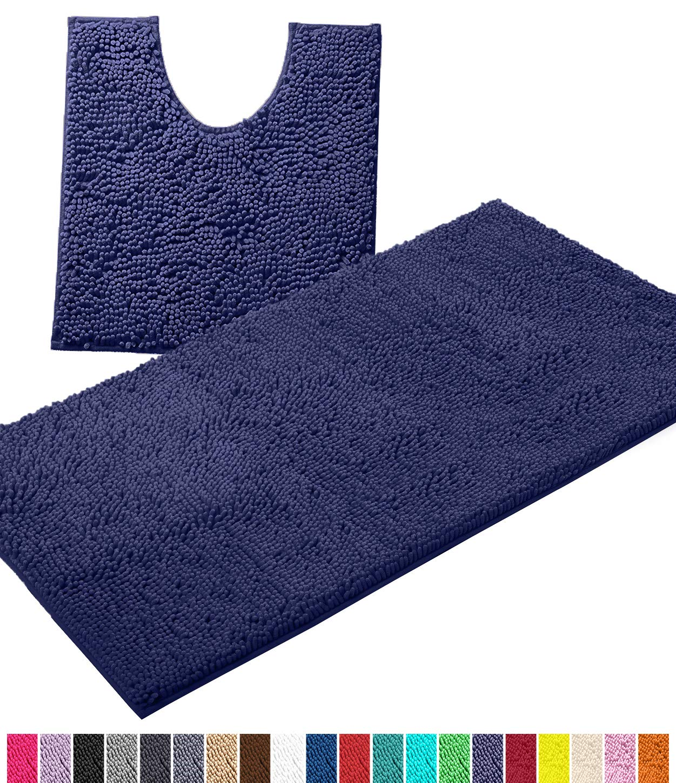 LuxUrux Bathroom Rugs Luxury Chenille 2-Piece Bath Mat Set, Soft Plush Anti-Slip Bath Rug +Toilet Mat.1'' Microfiber Shaggy Carpet, Super Absorbent Machine Washable (Curved Set Large, Blue-Purple)