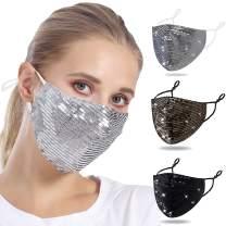 Sequin Face Mask for Women - 1 pc Sparkle Face Mask 1pcs Silver Sequin Mask - Fancy Mask Glitter Face Mask for Women Sparkle Mask for Women Men Sparkly Masquerade Mask for Women - Sequined Face Mask