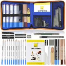 COLOUR BLOCK Sketching Travel Art Set - 37 PC, comes with 12 Sketch Pencils Set, 3 Pastel Pencils, 3 Charcoal Sticks, 3 Graphite Sticks, Sketch Pad and Drawing Tools in a Canvas Zippered Carry Case
