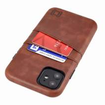 "Dockem iPhone 11 Wallet Case: Built-in Metal Plate for Magnetic Mounting & 2 Credit Card Holders (6.1"" Exec M2, Synthetic Leather, Brown)"