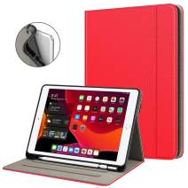 "Fintie Folio Case for New iPad 7th Generation 10.2 Inch 2019 with Built-in Pencil Holder - Multi-Angle Viewing Soft TPU Smart Stand Back Cover with Pocket, Auto Wake/Sleep for iPad 10.2"", Red"