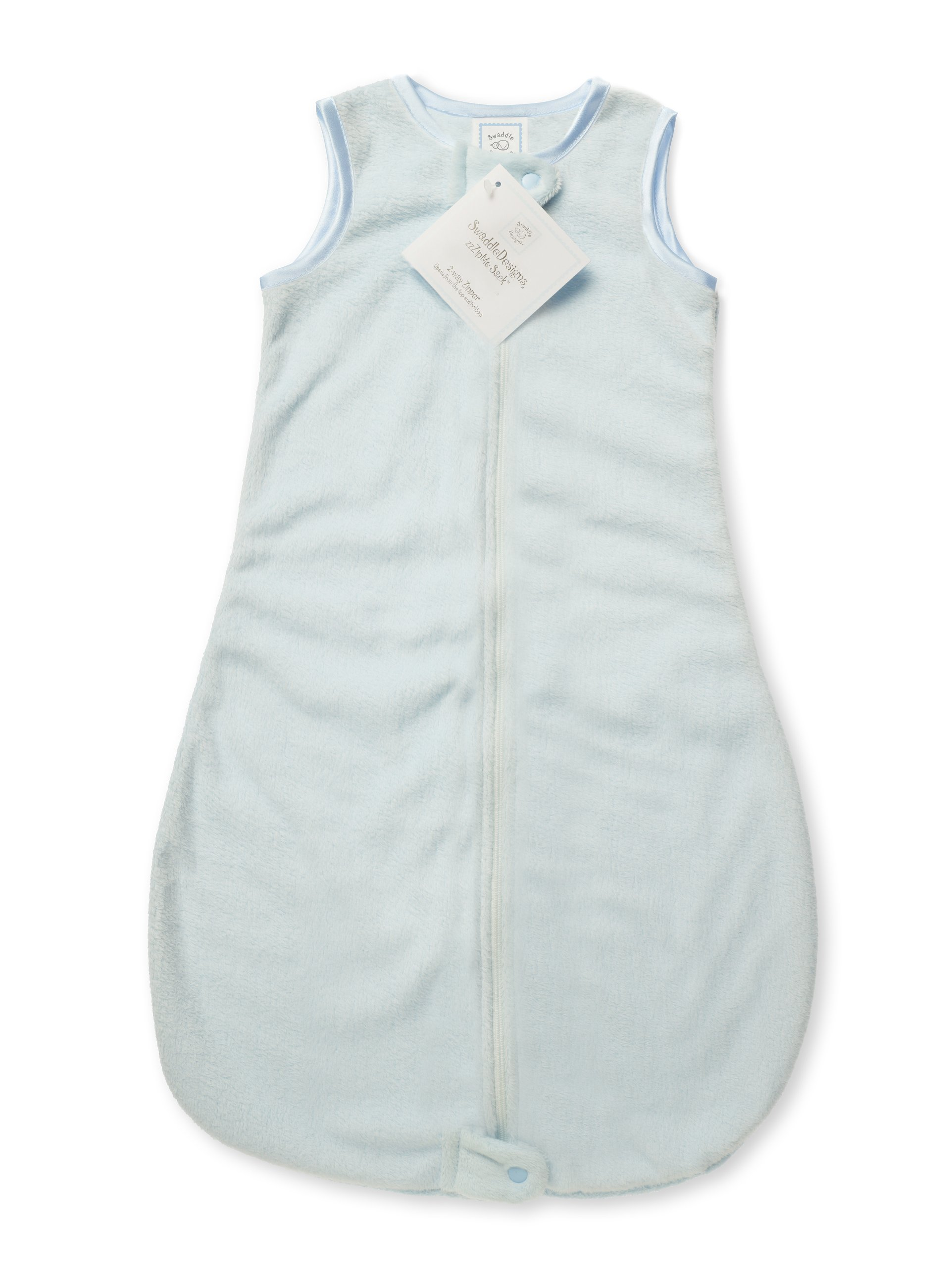 SwaddleDesigns Baby Velvet Sleeping Sack with 2-Way Zipper, Pastel Blue with Blue Trim, 12-18MO