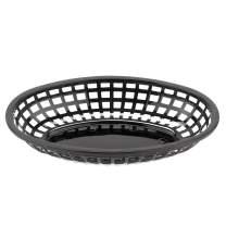"""GET OB-938-BK Oval Serving/Bread Basket, 9.5"""" x 6"""", Black (Pack of 12)"""