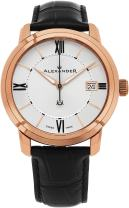 Alexander Heroic Macedon Mens Rose Gold Watch Leather Band - 40mm Analog Silver Face with Second Hand Date and Sapphire Crystal - Classic Swiss Made Quartz Dress Watches for Men Gold Tone A111-06