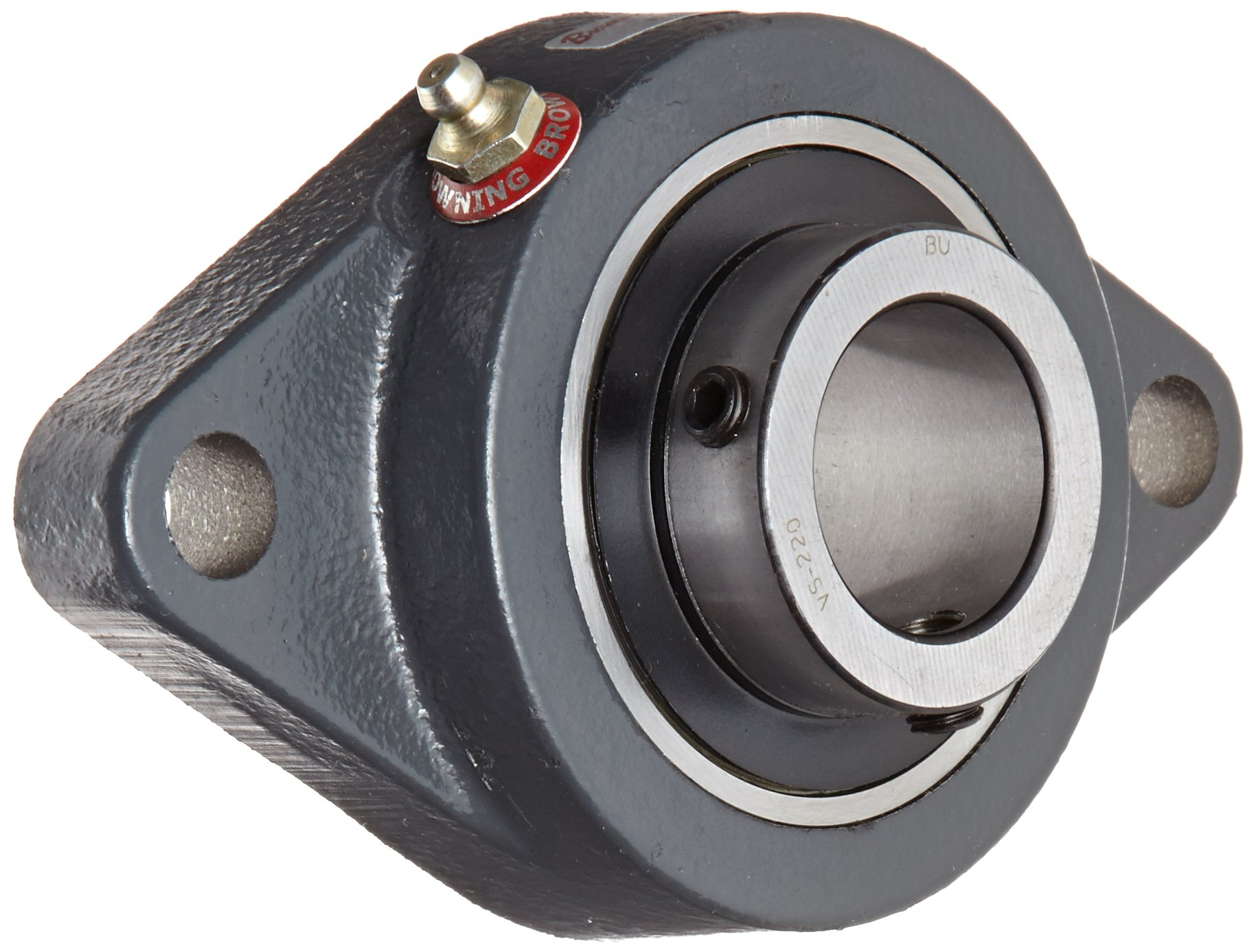 "Browning VF2S-220 Normal-Duty Flange Unit, 2 Bolt, Setscrew Lock, Regreasable, Contact and Flinger Seal, Cast Iron, Inch, 1-1/4"" Bore, 5-1/8"" Bolt Hole Spacing Width, 6-1/8"" Overall Width"