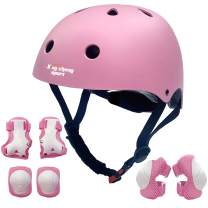 Kids Adjustable Helmets Protective Gear Set with Knee Pads Elbow Pads Wrist Guards Pads for Cycling Roller Skating Skateboard Scooter