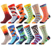 WeciBor Men's Funny Crazy Novelty Colorful Patterned Combed Cotton Dress Crew Socks