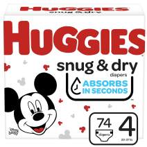 Huggies Snug & Dry Baby Diapers, Size 4, 74 Ct