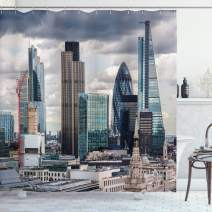 "Ambesonne Urban Shower Curtain, London England Skyline Buildings and Skyscrapers and Cloudy Sky Modern Capital City, Cloth Fabric Bathroom Decor Set with Hooks, 84"" Long Extra, Bluegrey"