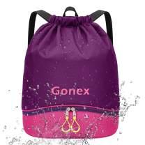 Gonex Swim Gear Bag Waterproof Drawstring Gym Sack with Shoe Compartment