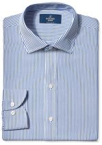 Amazon Brand - BUTTONED DOWN Men's Slim Fit Stripe Dress Shirt, Supima Cotton Non-Iron