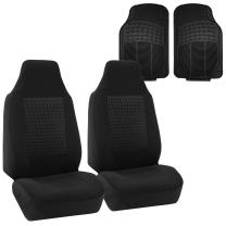 FH Group FB107102 +F11306 Premium Fabric Seat Covers (Black) Front Set – Universal Fit for Cars, Trucks & SUVS