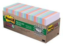 Post-it Super Sticky Recycled Notes, Bali Colors, 2X the Sticking Power, Large Pack, 3 in. x 3 in, 24 Pads/Pack, 70 Sheets/Pad (654-24NH-CP)