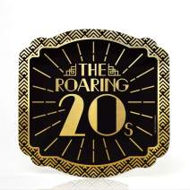 Big Dot of Happiness Roaring 20's with Gold Foil - 2020 Graduation and Prom Party Supplies - 1920s Art Deco Jazz Party Dessert Plates (16 Count)
