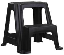 Home Basics 2-Stair Step Stool, Holds Up to 250 Lbs – Sturdy, Lightweight, Skid Resistance Rubber, Safe step stool for Adults and Kids, Black