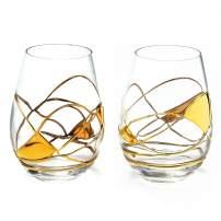 ANTONI BARCELONA Stemless Wine Glasses Set of 2 (21 Oz) - Handblown & Handmade, Painted Gold Wine Glass, Gifts for Women, Birthdays, Anniversaries, and Weddings (2 GOLD)