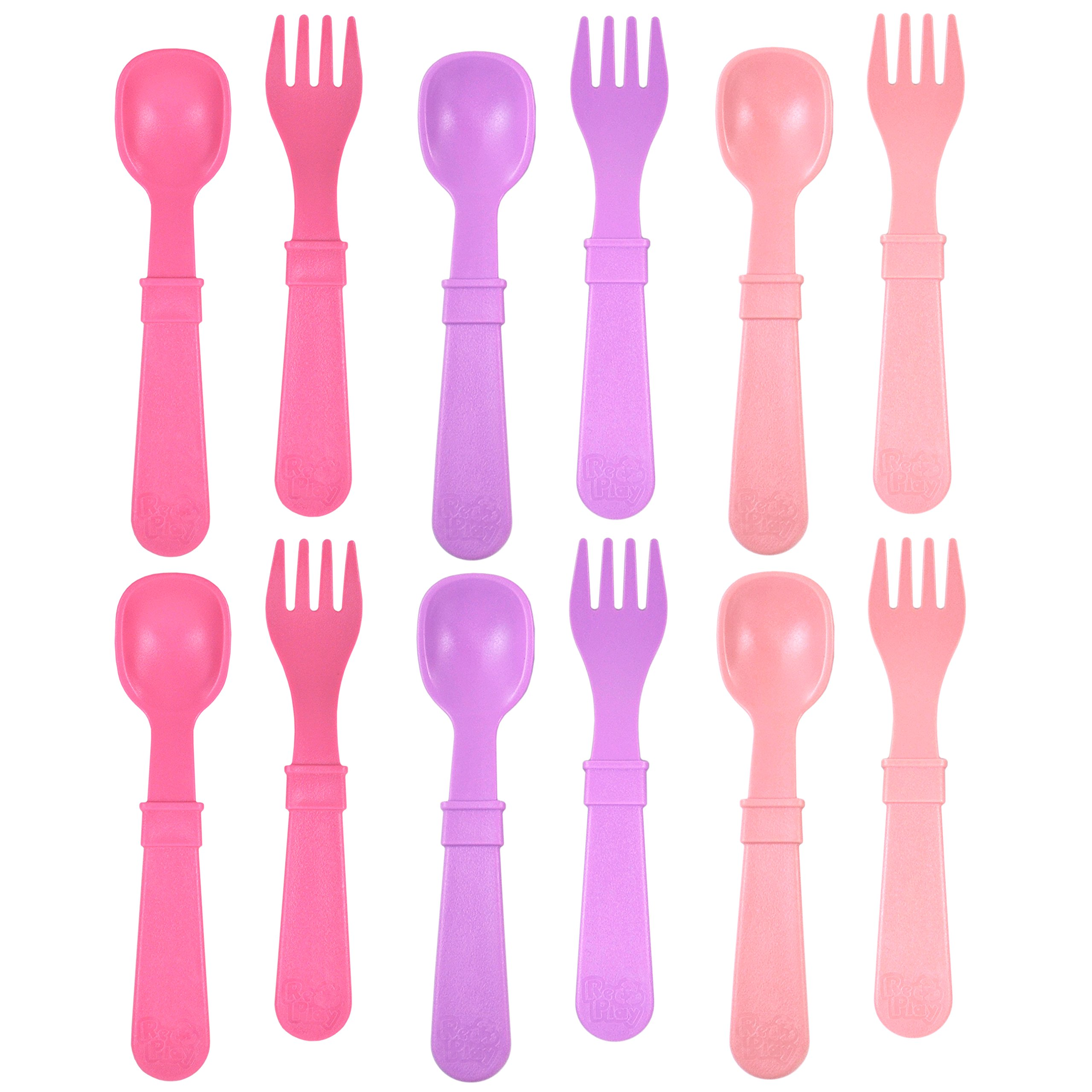 RE-PLAY Made in The USA 12pk Fork and Spoon Utensil Set for Easy Baby, Toddler, and Child Feeding in Purple, Blush and Bright Pink   Made from Eco Friendly Heavyweight Recycled Milk Jugs   (Princess)