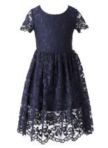 Happy Rose Flower Girl Lace Dress Country Dresses with Sleeves Navy Blue 10 Years