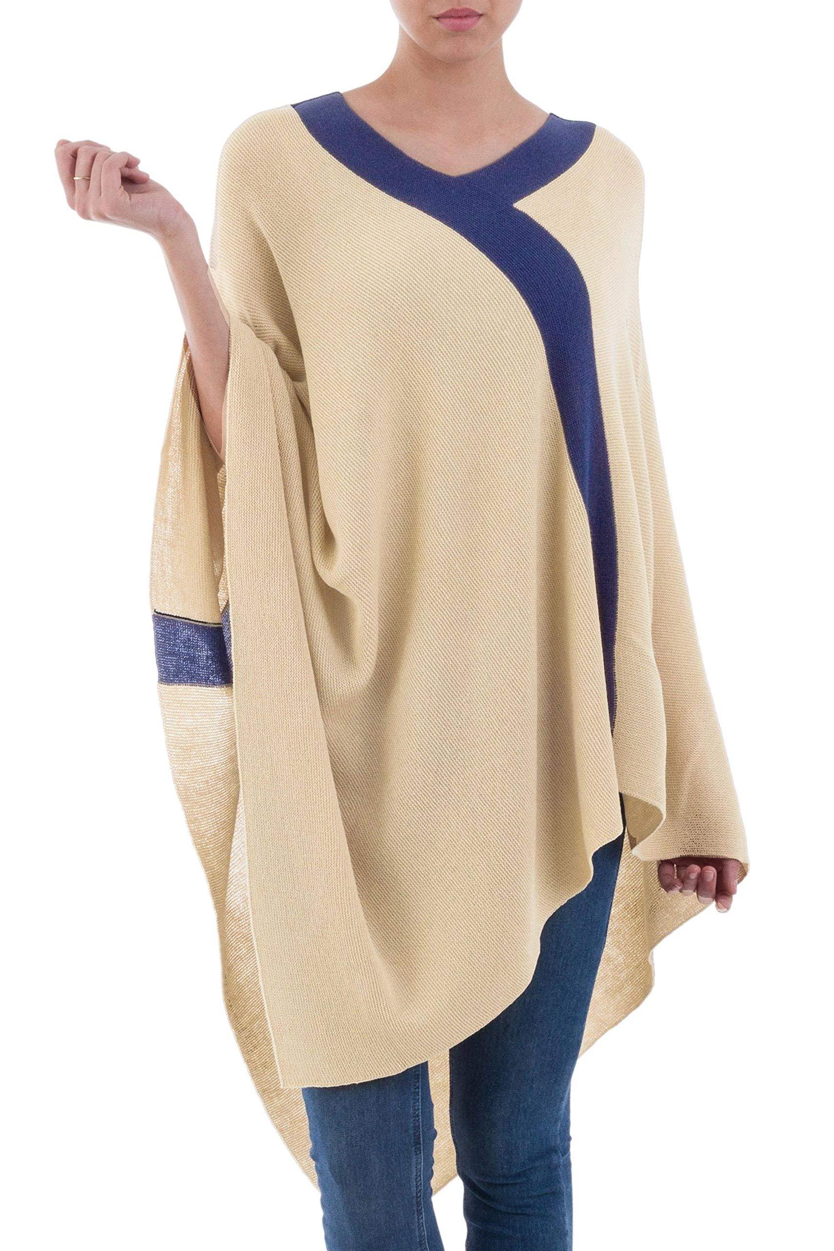 NOVICA Tan and Navy Knit Bohemian Drape Poncho, Beam of Light'