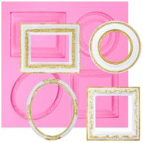 FUNSHOWCASE Mirror Frame Candy Silicone Mold, Small for Sugarcraft, Cake Decoration, Cupcake Topper, Chocolate, Fondant, Jewelry, Polymer Clay, Epoxy Resin, Crafting Projects