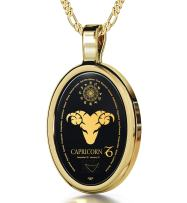 """Capricorn Necklace Zodiac Pendant for Birthdays 22nd December to 19th January with Star Sign Constellation and Personality Characteristics Inscribed in 24k Gold on Oval Black Onyx Gemstone, 18"""" Chain"""