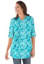 Woman Within Women's Plus Size Pintucked Print Tunic Shirt