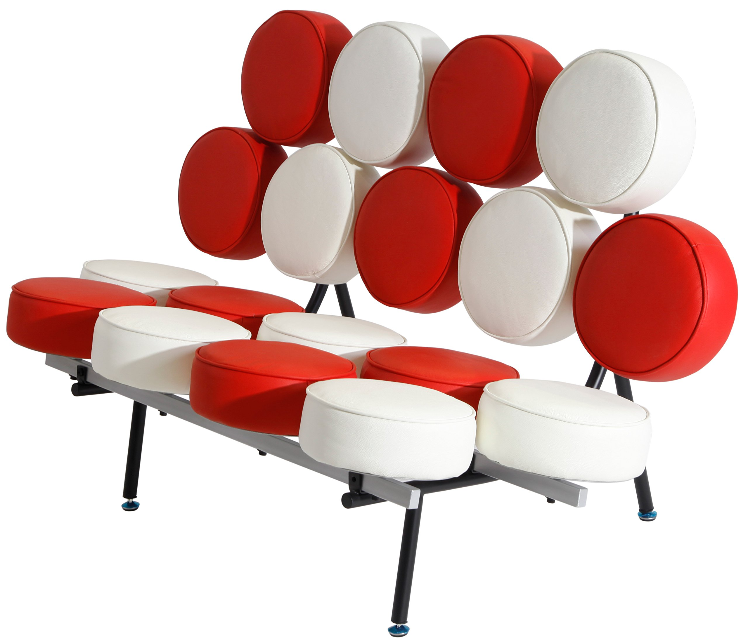 MLF Nelson Marshmallow Sofa (7 Colors). Imported Italian Leather, Comfortable, Solid, Durable, Artistic, Easy Cleaning & Interchanged, Floor Protector Pads Adjustable.(Red + White/Cream)