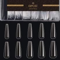 OPUIU Salon Quality Acrylic Nail Tips 500PCS Full Cover Clear Nail Tips Long Coffin Nail Tips Ballerina Nail Tips Gift Box Home Use Artificial Nails
