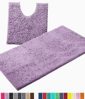 LuxUrux Bathroom Rugs Luxury Chenille 2-Piece Bath Mat Set, Soft Plush Anti-Slip Bath Rug +Toilet Mat.1'' Microfiber Shaggy Carpet, Super Absorbent Machine Washable Mats (Curved Set Large, Lavender)