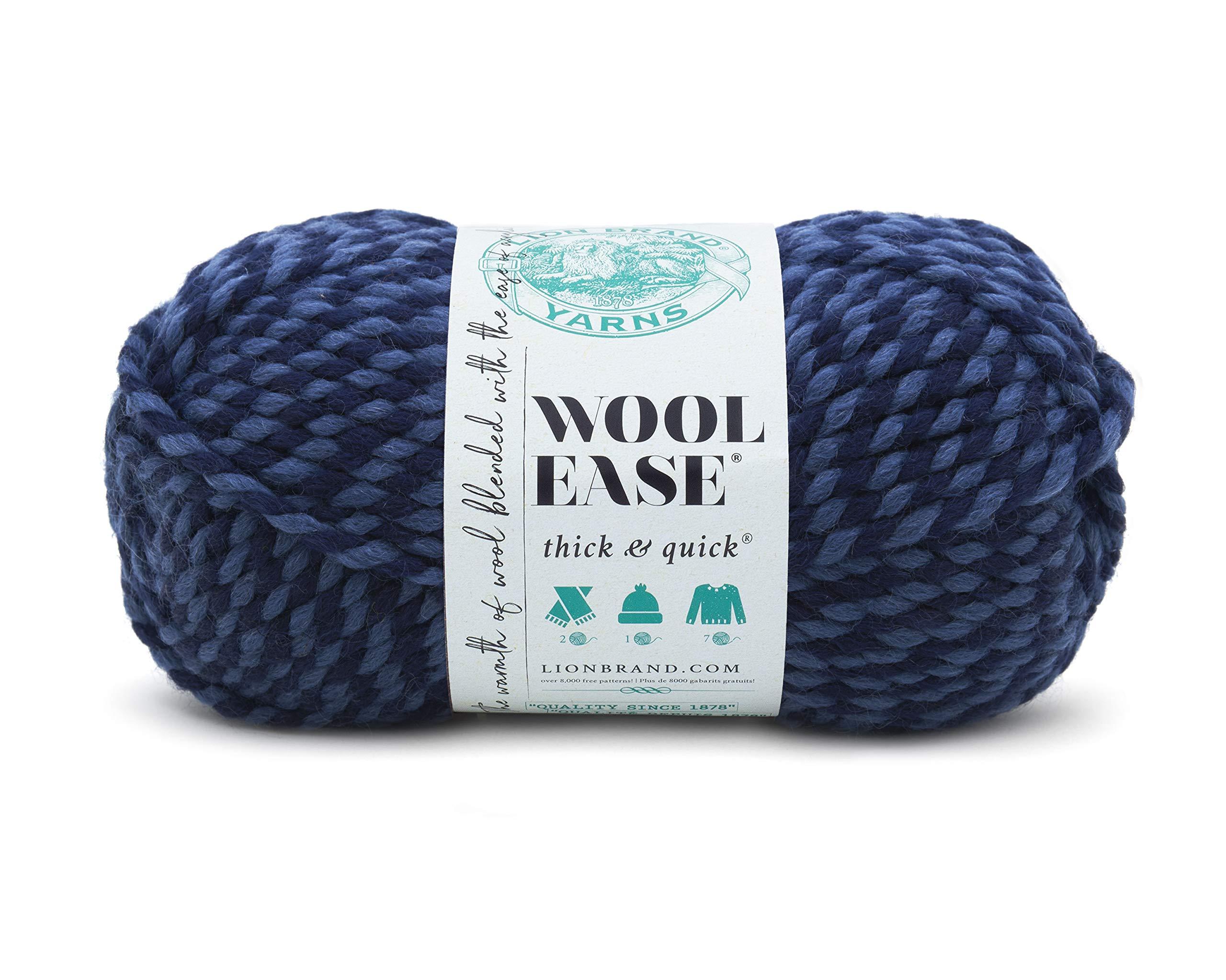 Lion  640-194B Wool-Ease Thick & Quick Yarn , 97 Meters, Denim Twist