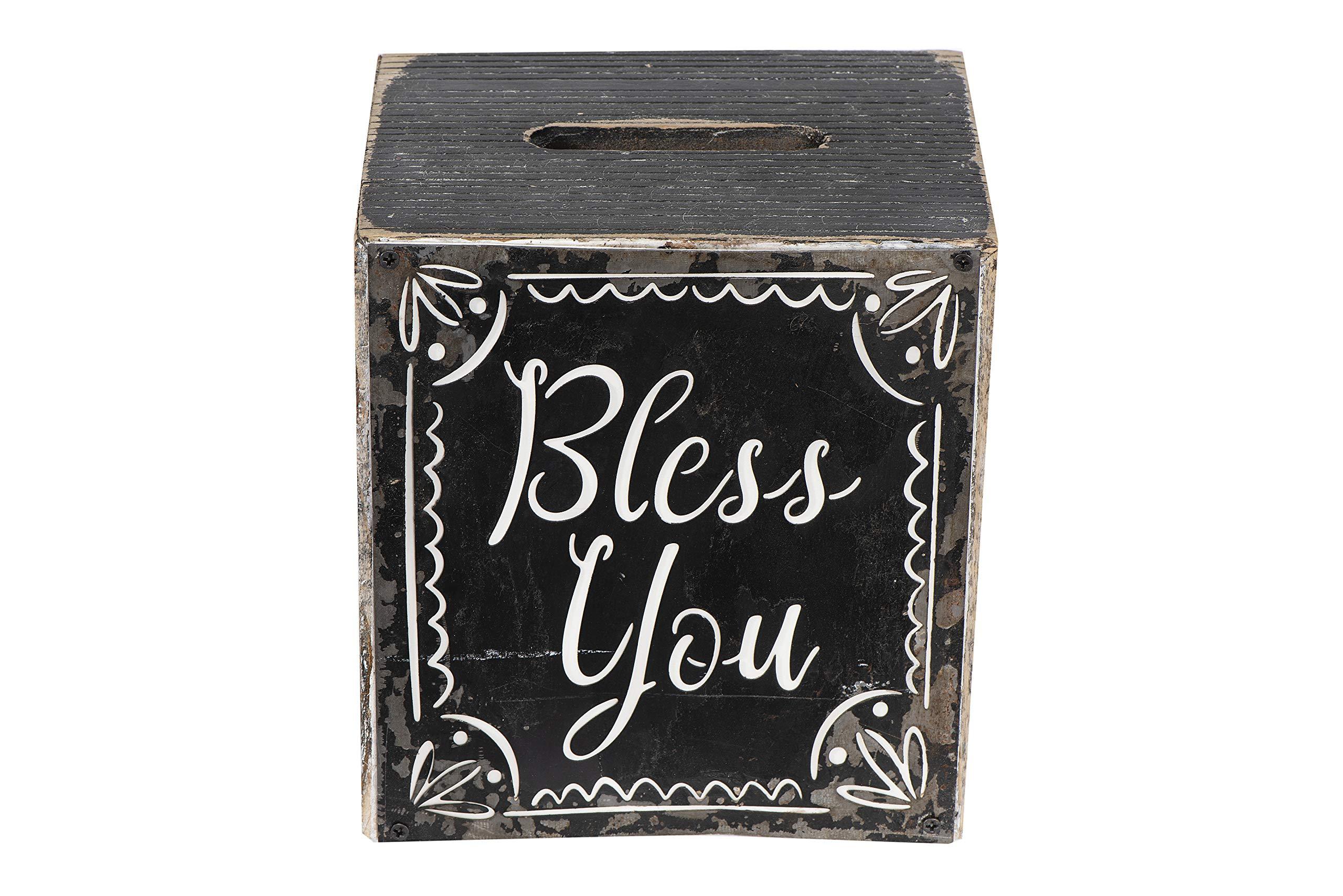 Creative Co-op Bless You Wood Tissue Box Bath Decor, Black