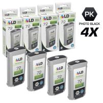 LD Remanufactured Ink Cartridge Replacement for HP 72 C9370A High Yield (Photo Black, 4-Pack)
