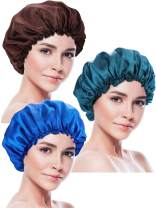 Blulu 3 Pieces Sleep Cap Satin Bonnet Night Head Cover Sleeping Soft Hair Turbans for Women and Girls (Style Set 5)