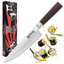 "Okami Knives CHEF KNIFE 8"" Japanese Damascus Stainless Steel, High Carbon Sharp Kitchen Cutlery, Light & Ergonomic Gyuto"