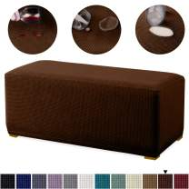 Granbest Premium Water Repellent Ottoman Cover High Stretch Rectangle Folding Storage Stool Ottoman Slipcovers (Ottoman Oversized, Chocolate)