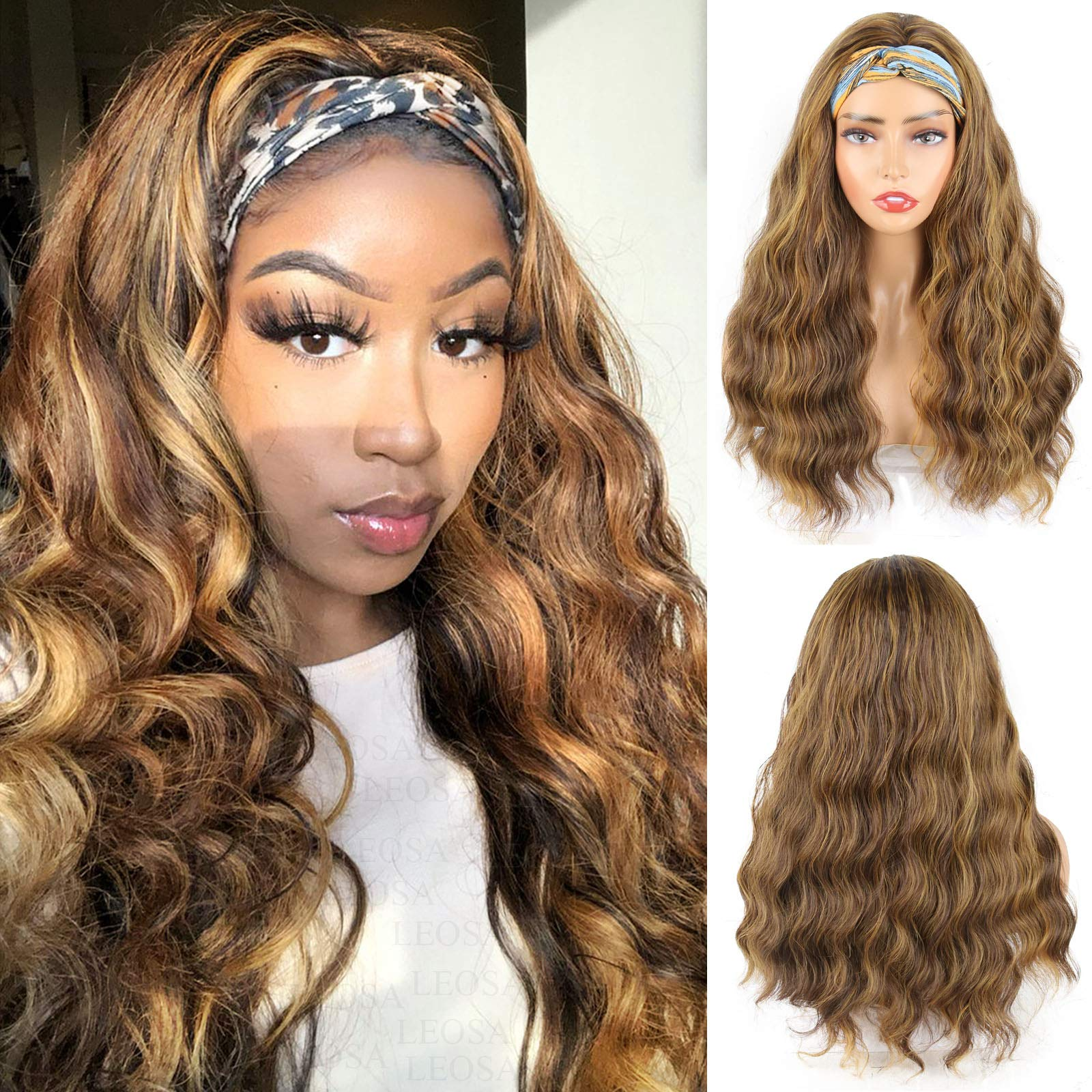 LEOSA Body Wave Headband Wigs with Highlight Blonde Wig Synthetic Brown Honey Blonde Wavy Wigs for Black Women Natural Looking Wavy Synthetic Wig with Headband Attached 4/27 Mix Brown Color Wig