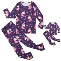 QPANCY Matching Dolls&Girls Pajamas Unicorn Pjs Set Little Kid Sleepwear Clothes