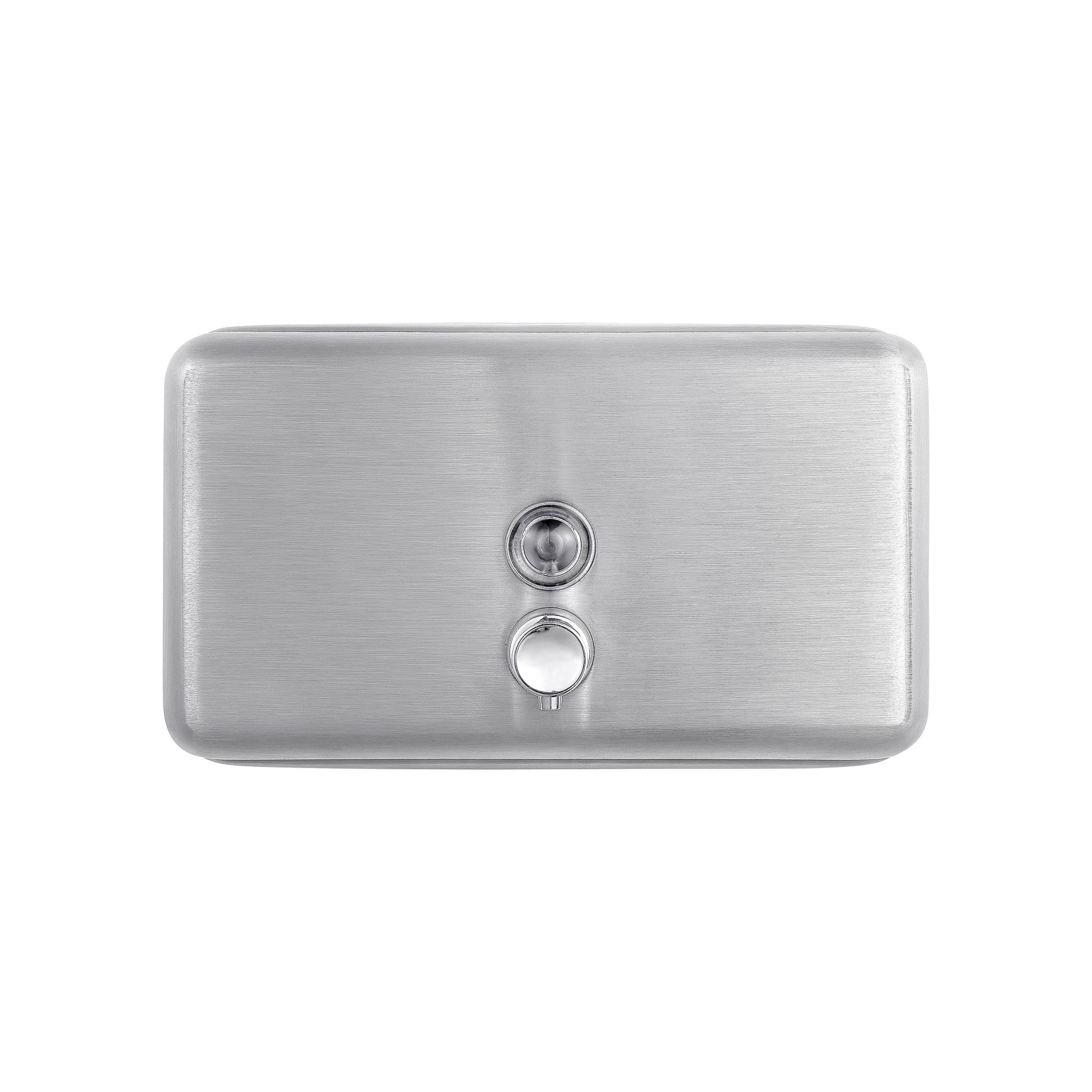 Dependable Direct Horizontal Wall Mounted Liquid Soap Dispenser (40oz Capacity) - 304 Grade Stainless Steel - Key Locked - for Use in Hospitals, Restaurants, Schools, Healthcare Facilities