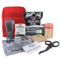 MediTac Premium IFAK Kit - Feat. Trauma Pak, CAT Tourniquet, HyFin Vent Chest Seal, Israeli Bandage - Red