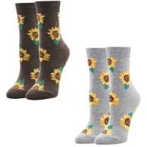Women Girls Novelty Funny Sunflower Crew Socks, Cute Funky Floral Christmas Gift