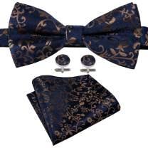 YOHOWA Mens Bow Tie and Pocket Square Set Pretied Silk Bow Tie Cufflinks Set