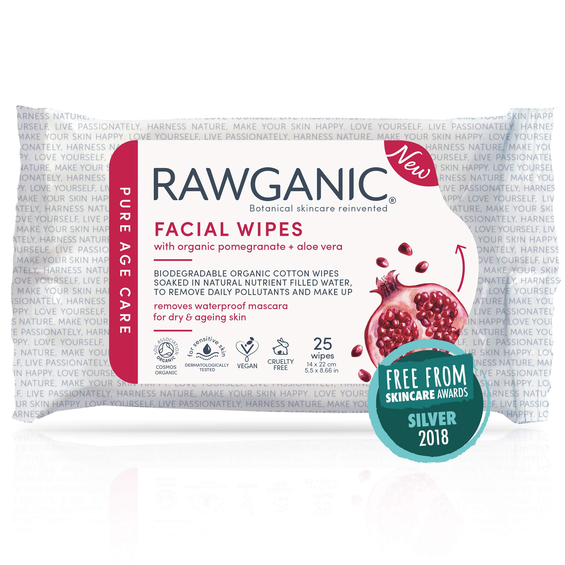 Rawganic Anti-aging Hydrating Facial wipes, Fragrance-free Biodegradable Organic Cotton Wipes with Pomegranate and Aloe Vera (25 wipes/pack)
